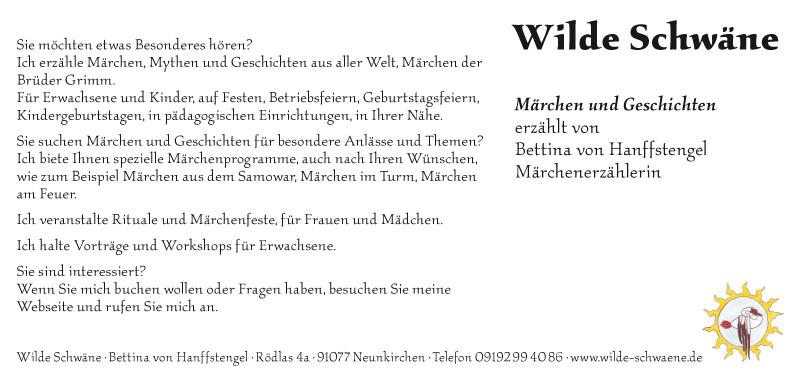 Rückseite Karte 'Wilde Schwäne Märchen und Geschichten erzählt…'