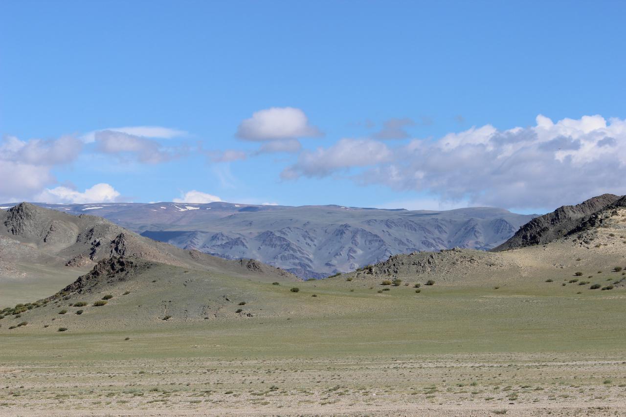Hügelige Steppenlandschaft mit Gebirgszug