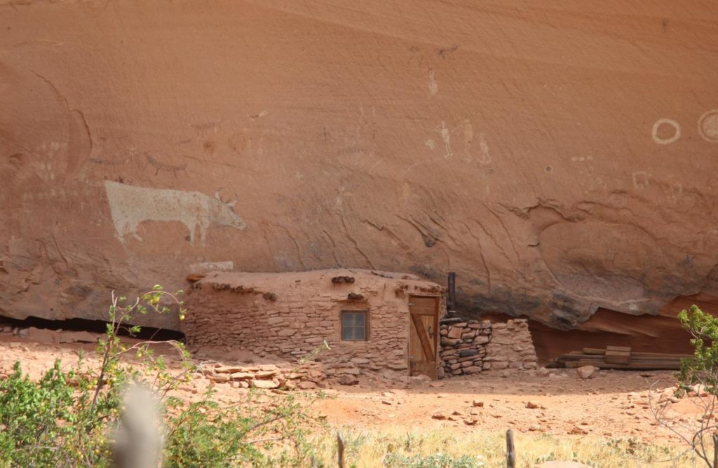 Steinhogan mit Fenster im Canyon de Chelly, Felszeichnung einer Kuh im Hintergrund